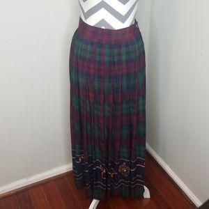 Vintage Blue Label Ralph Lauren Plaid Maxi Skirt